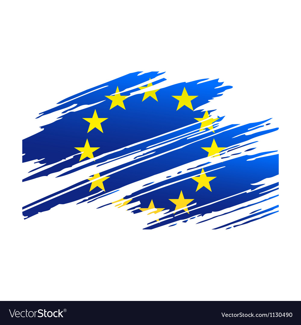 Flag european union in the form traces brush vector | Price: 1 Credit (USD $1)
