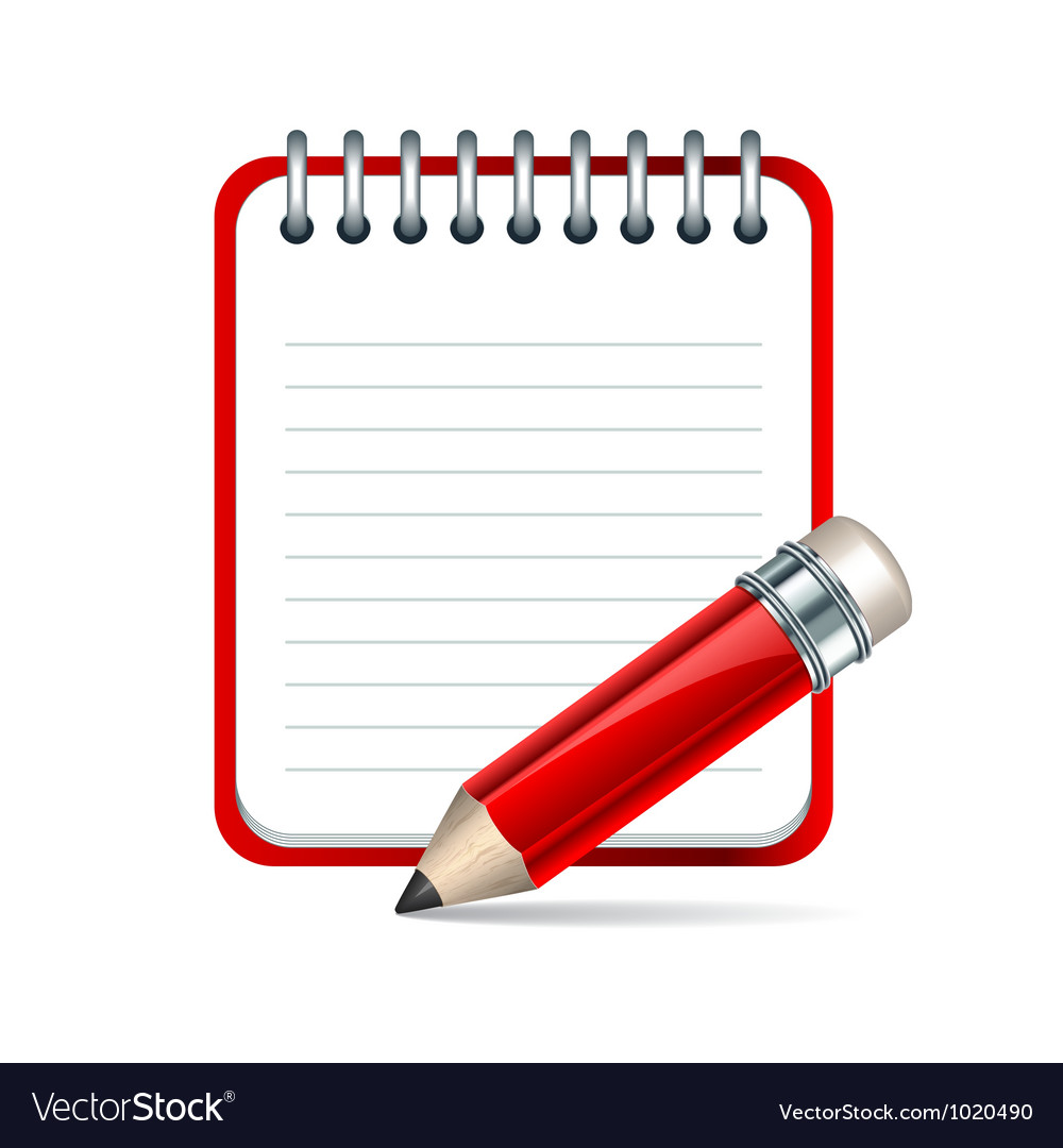 Pencil and notepad icon vector | Price: 1 Credit (USD $1)