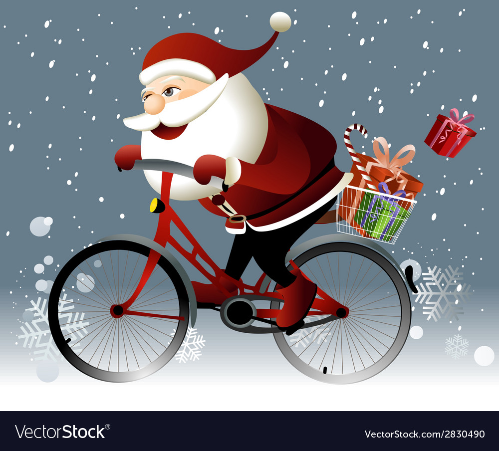 Santa claus riding a bike vector | Price: 3 Credit (USD $3)
