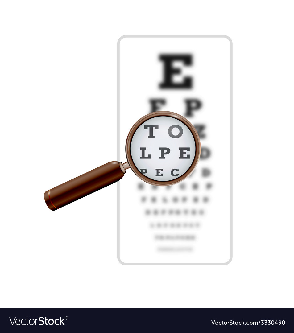 Sharp and unsharp snellen chart with magnifying vector | Price: 1 Credit (USD $1)