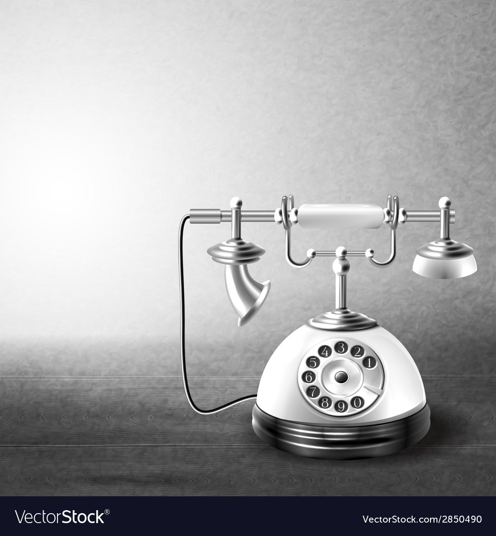 Telephone old black and white vector | Price: 1 Credit (USD $1)