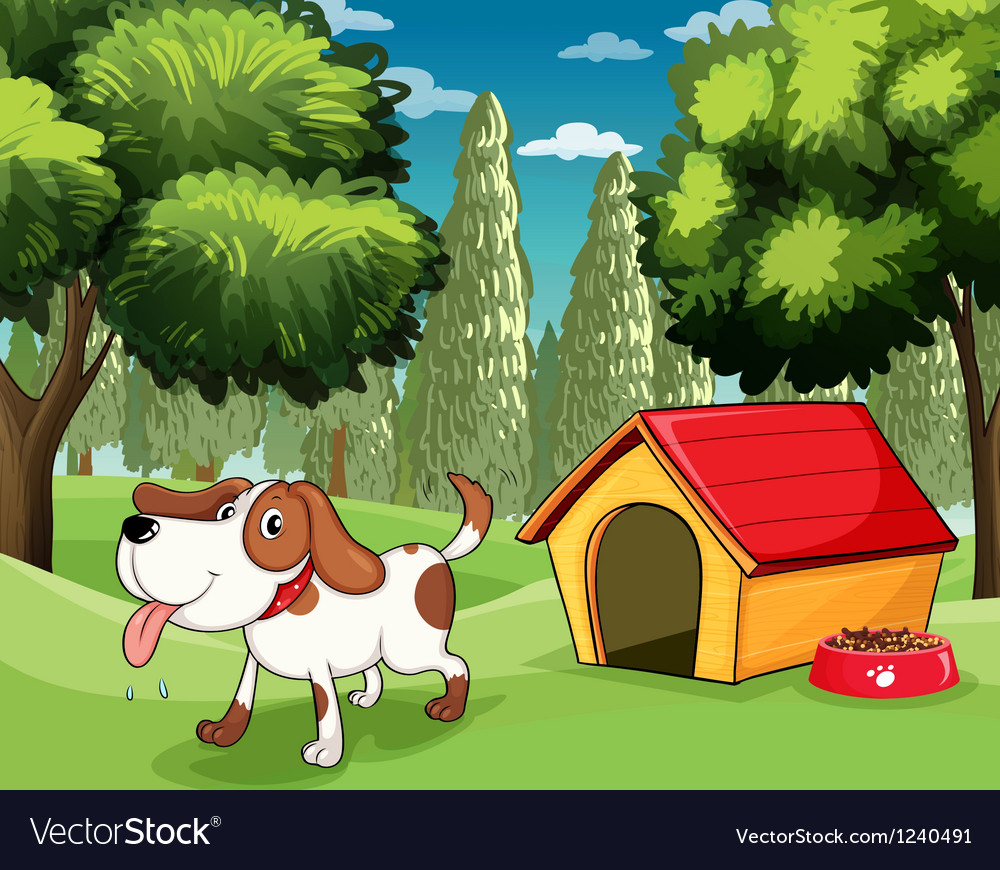 A dog with a doghouse and a dogfood near the trees vector | Price: 1 Credit (USD $1)