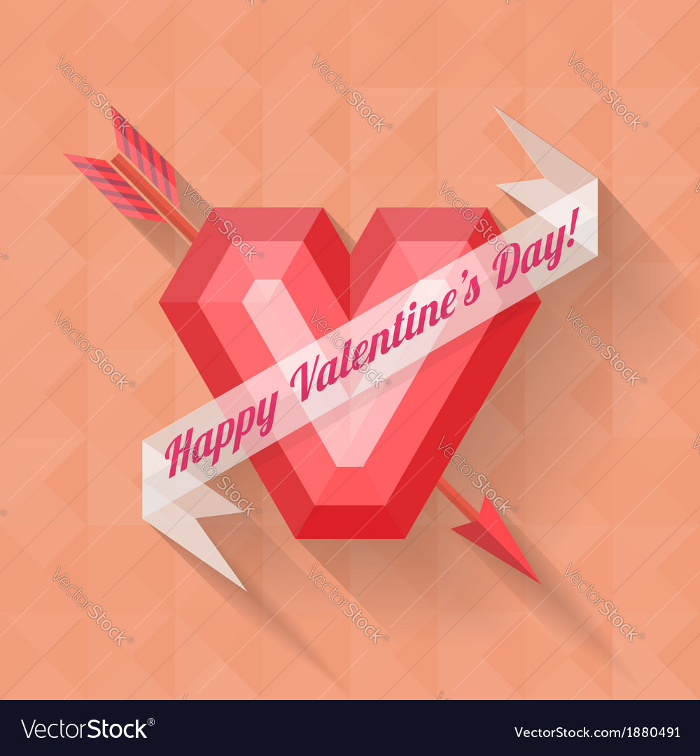 Abstract arrow heart happy valentine banner vector | Price: 1 Credit (USD $1)