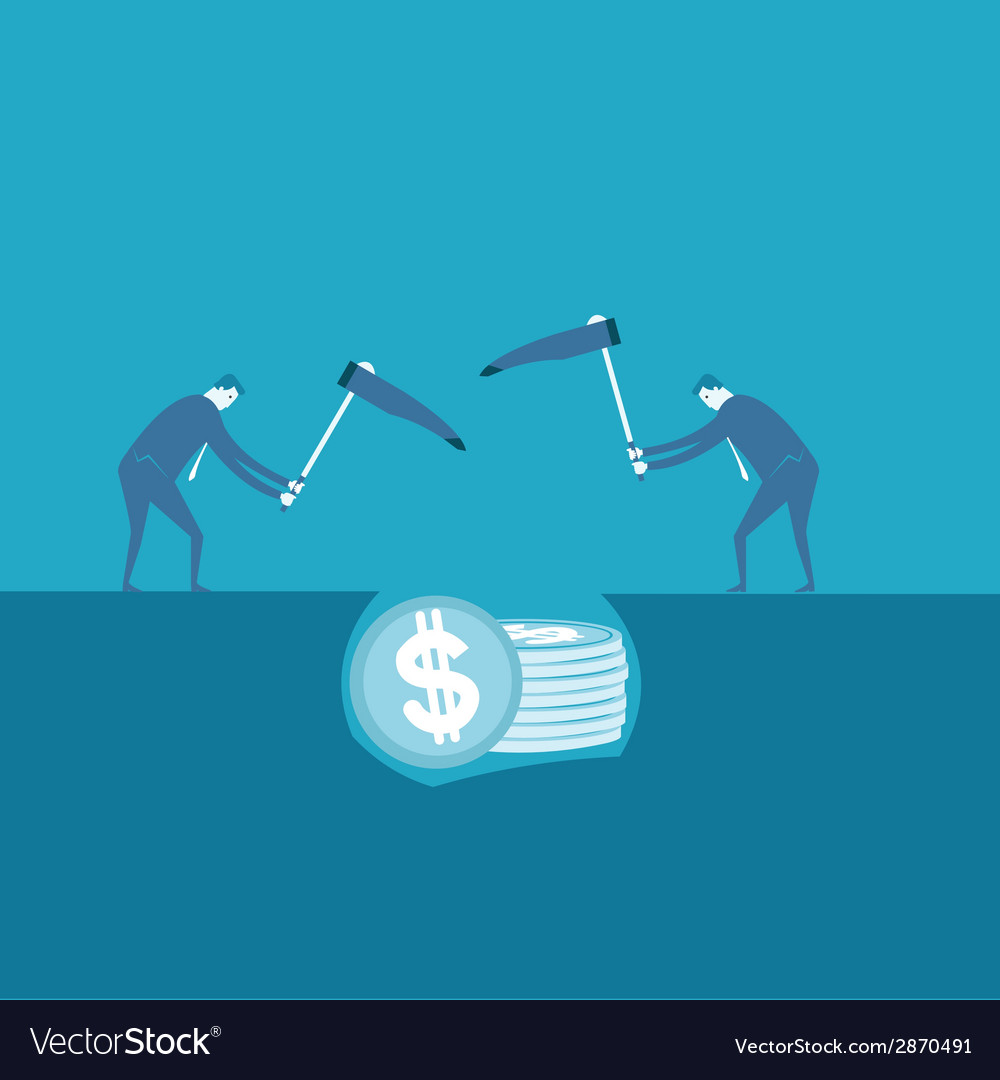 Businessman unearthing the money vector | Price: 1 Credit (USD $1)