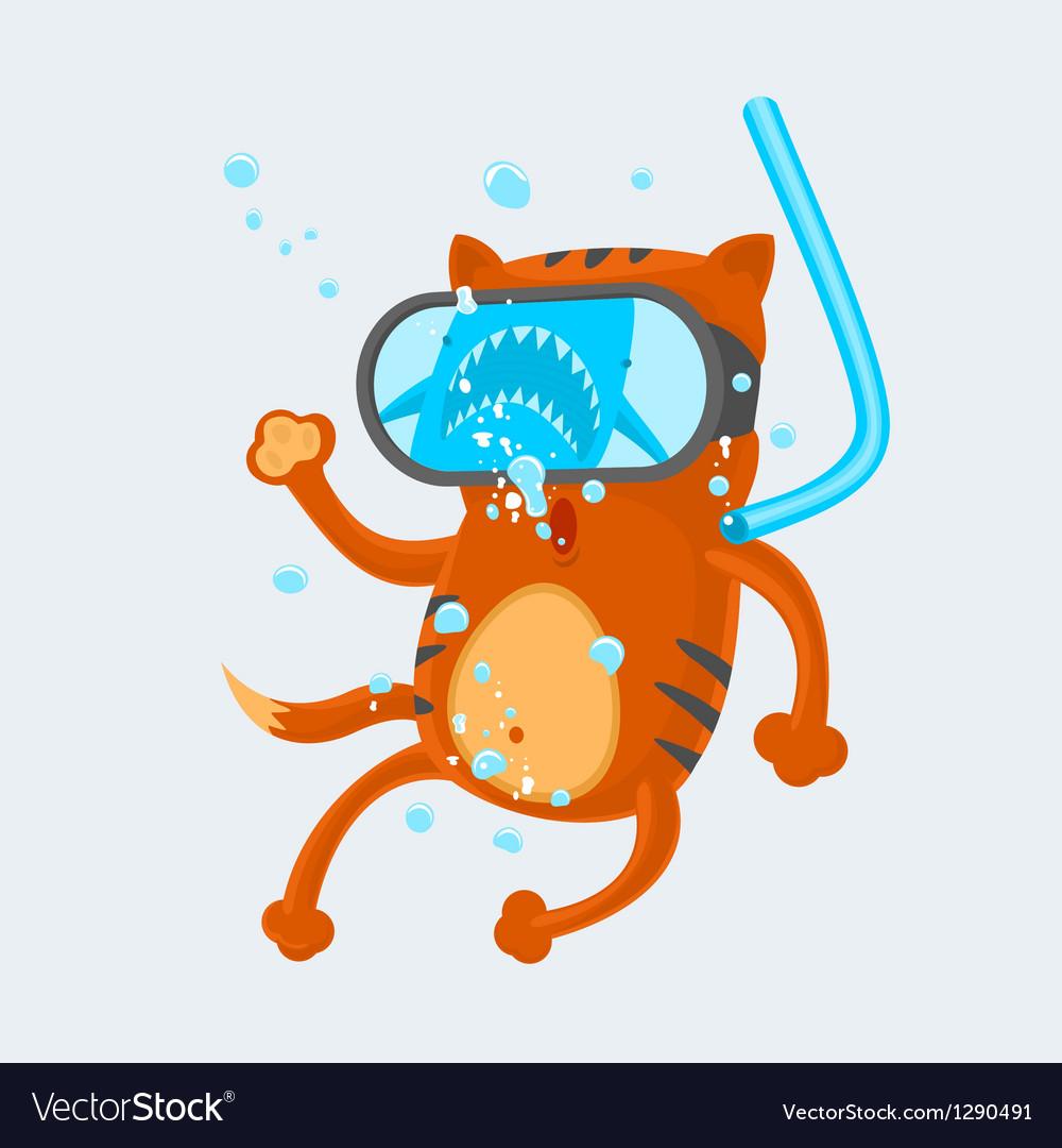 Cat diver vector | Price: 3 Credit (USD $3)