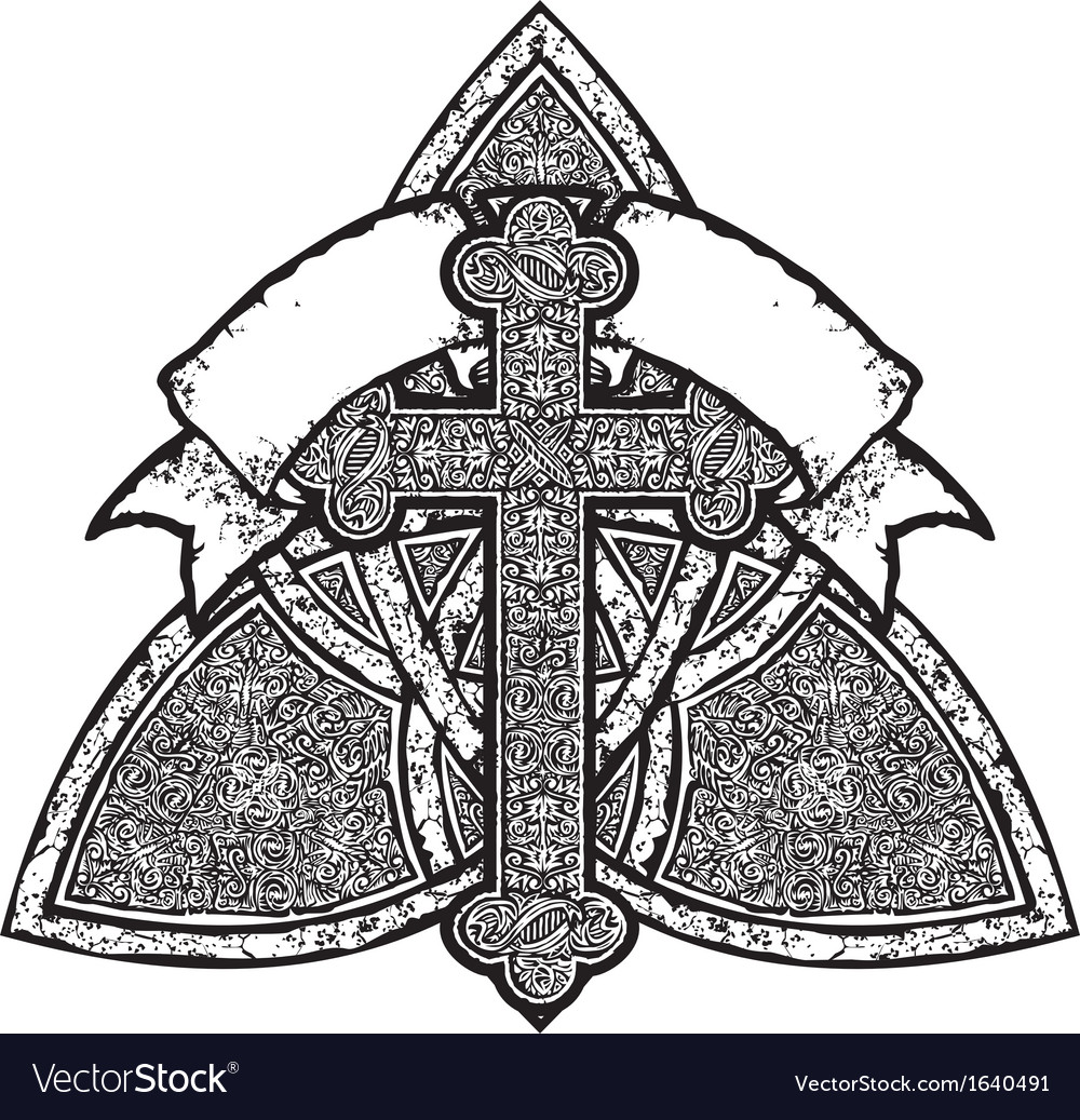 Cross and banner vector | Price: 1 Credit (USD $1)