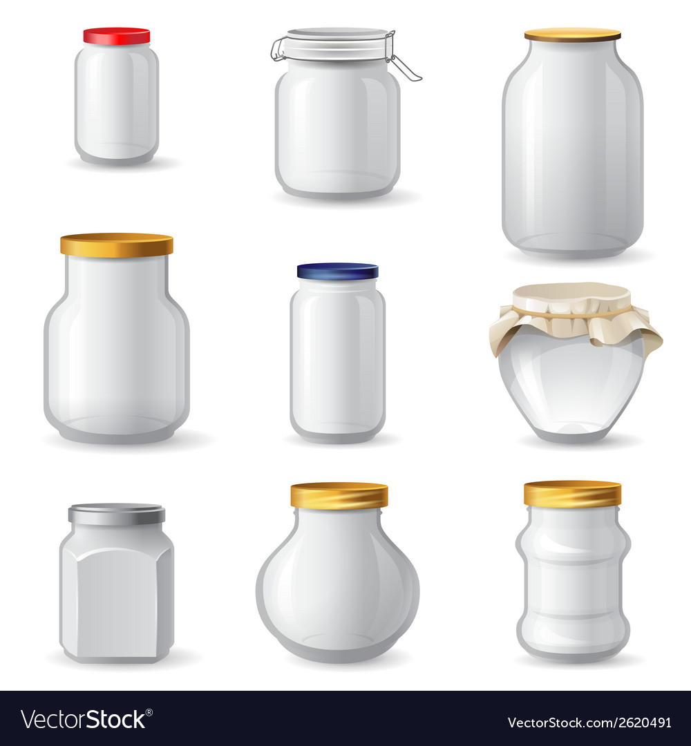 Empty glass jars vector | Price: 1 Credit (USD $1)
