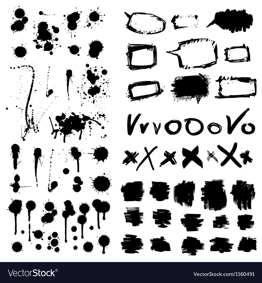 Ink splatters grunge design elements collection vector | Price: 1 Credit (USD $1)