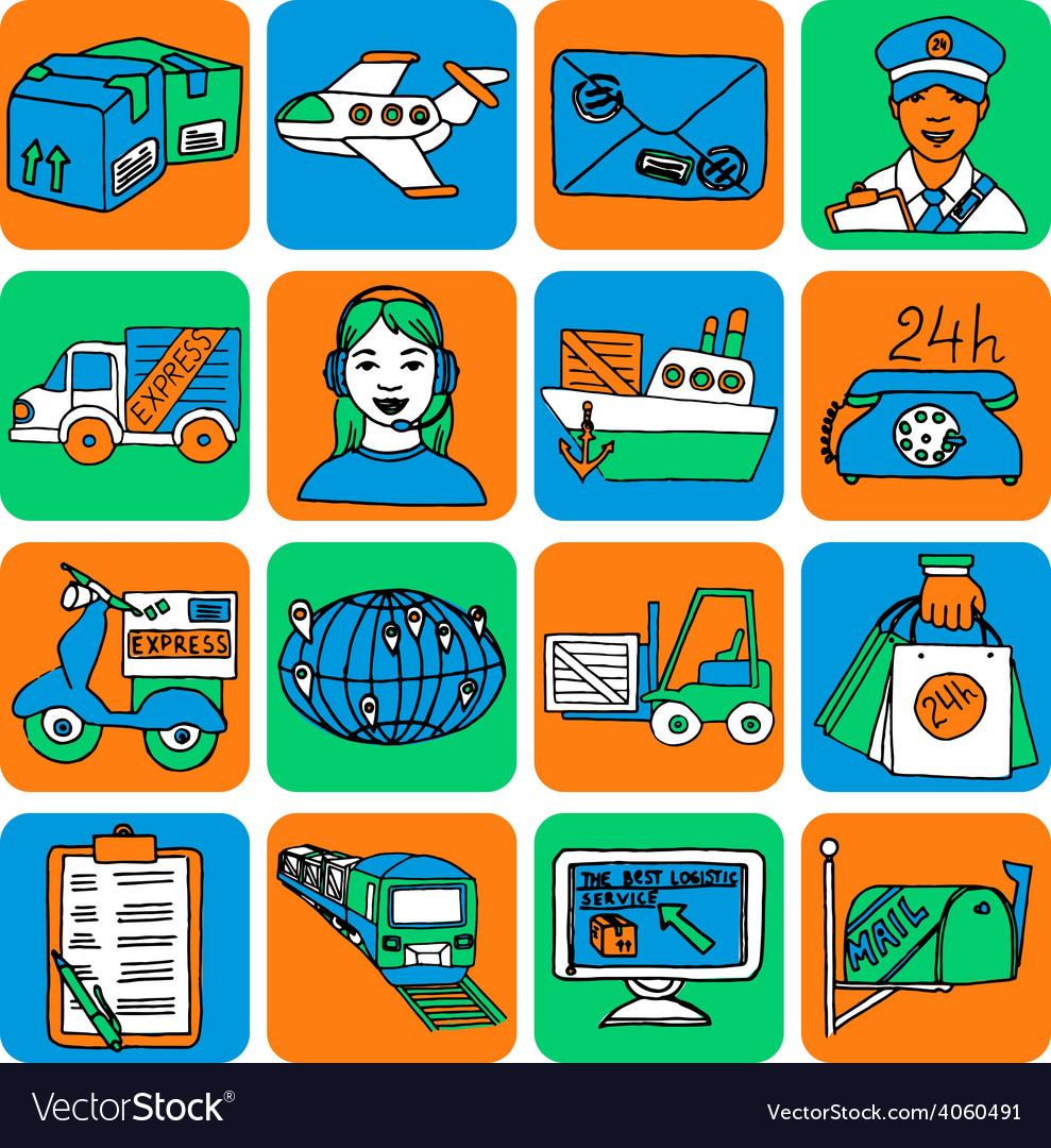 Logistic cartoon icons color vector | Price: 1 Credit (USD $1)