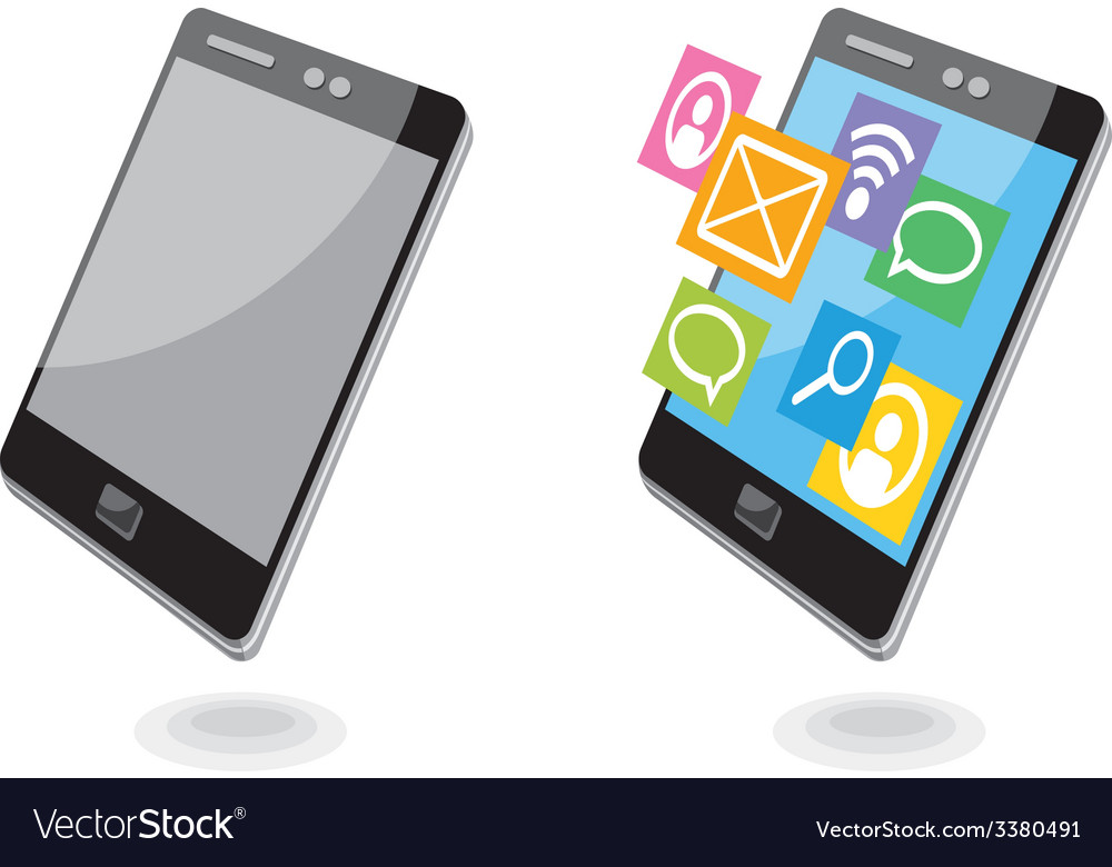 Mobile phone applications navigation communication vector | Price: 1 Credit (USD $1)