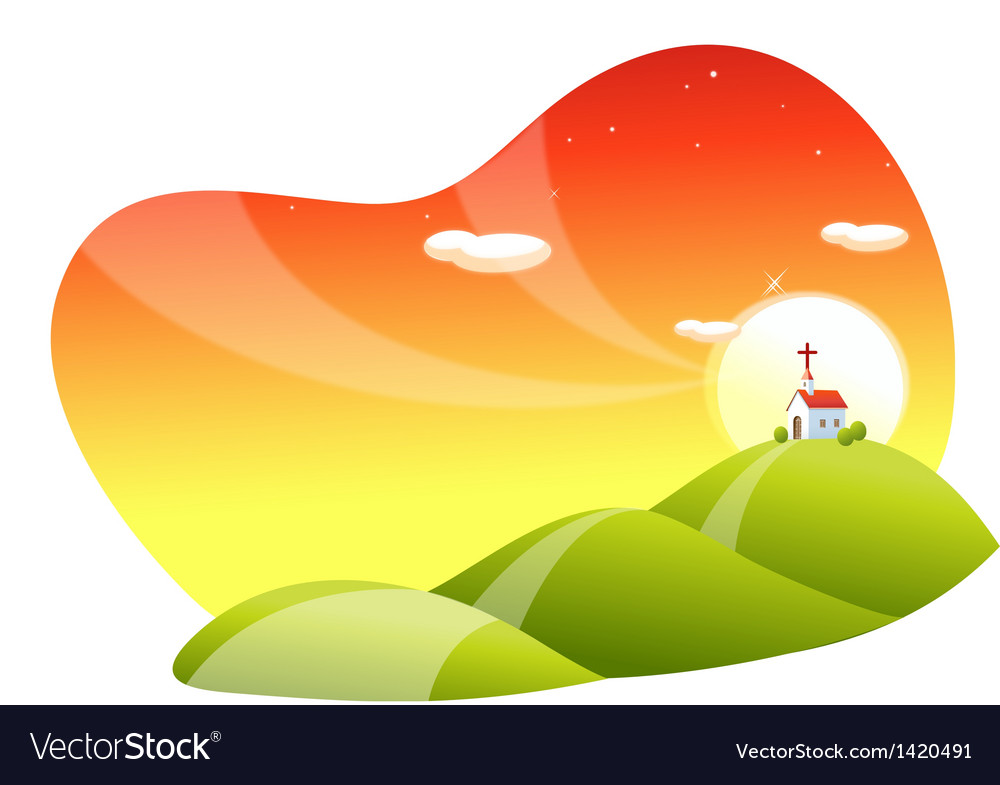 Rolling landscape and church vector | Price: 1 Credit (USD $1)