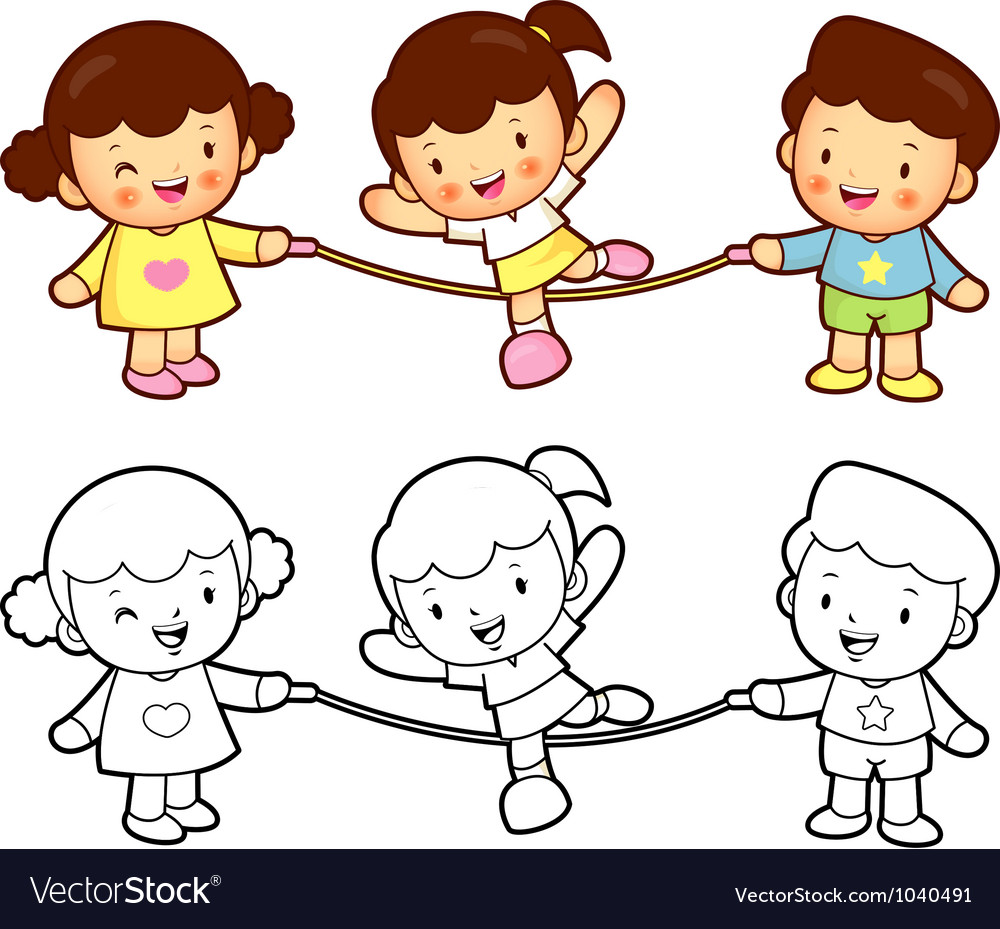 Rope skipping boys girls vector | Price: 1 Credit (USD $1)