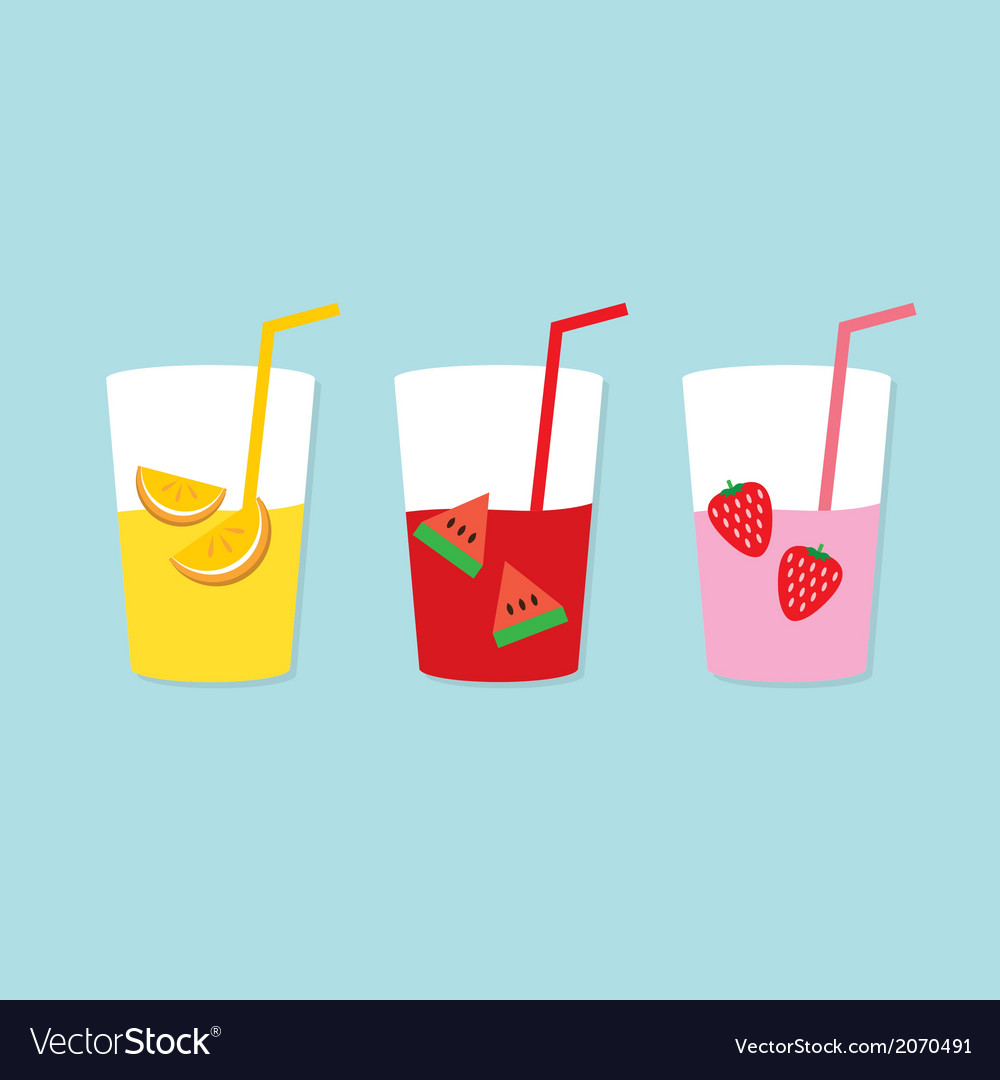 Set of fruit juice glasses vector | Price: 1 Credit (USD $1)