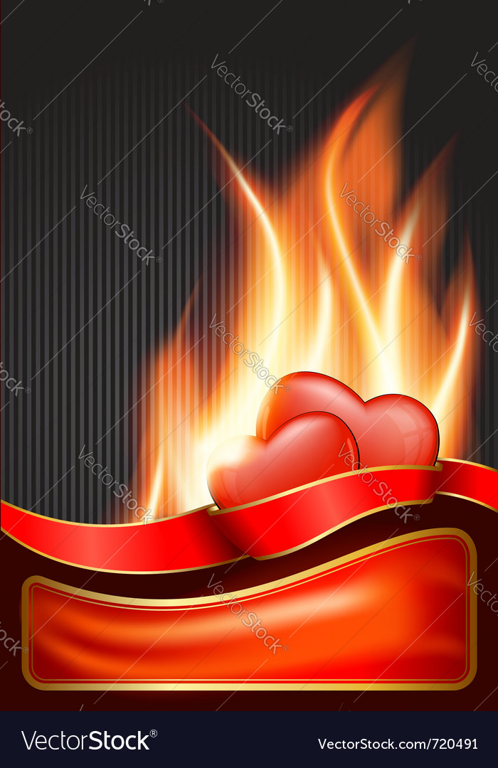 Valentines day background with burning heart eps vector | Price: 1 Credit (USD $1)