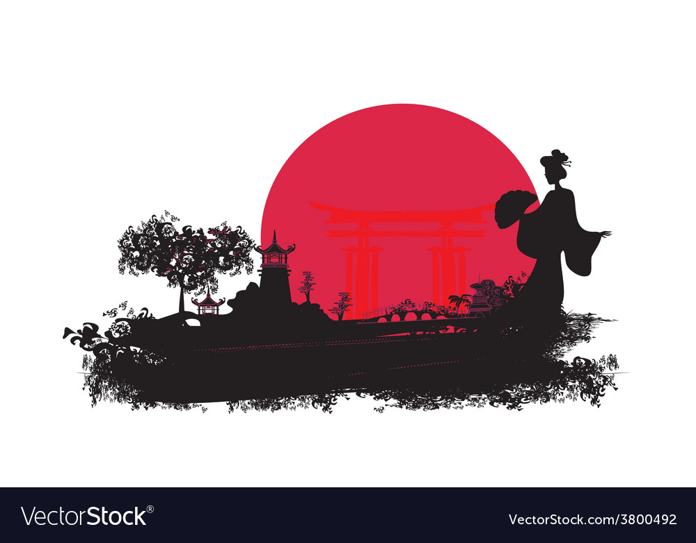 Abstract asian landscape with geisha silhouette vector | Price: 1 Credit (USD $1)