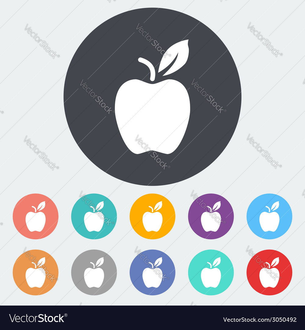 Apple flat icon vector | Price: 1 Credit (USD $1)