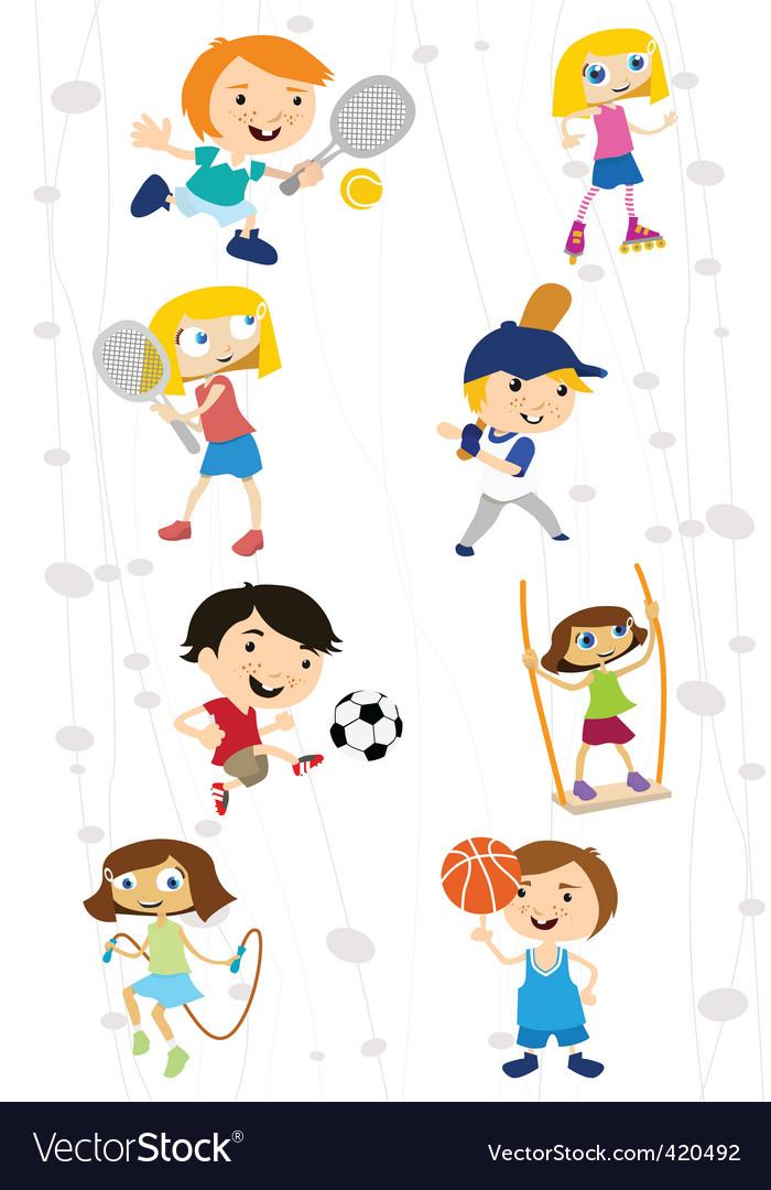 Cartoon sport kids vector | Price: 1 Credit (USD $1)