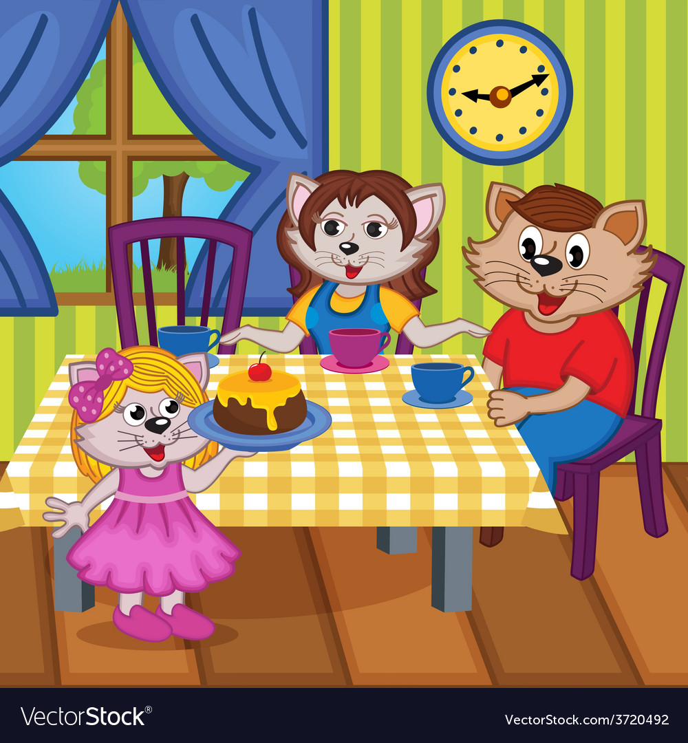 Family cats eat cake together vector | Price: 3 Credit (USD $3)