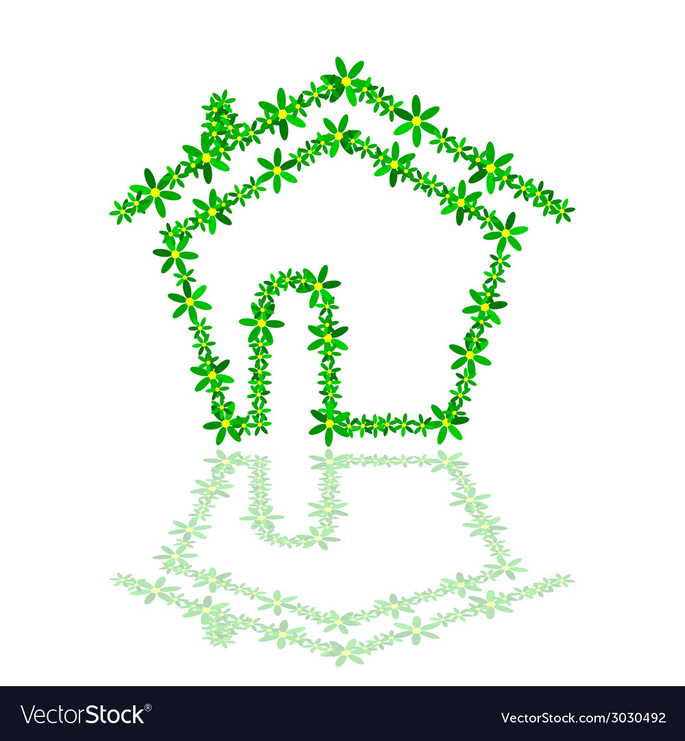 House with flower vector | Price: 1 Credit (USD $1)