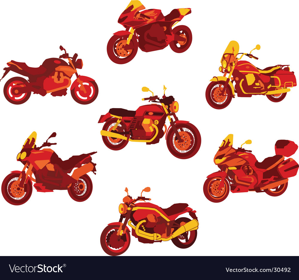 Italian motorcycle red icons set vector | Price: 1 Credit (USD $1)