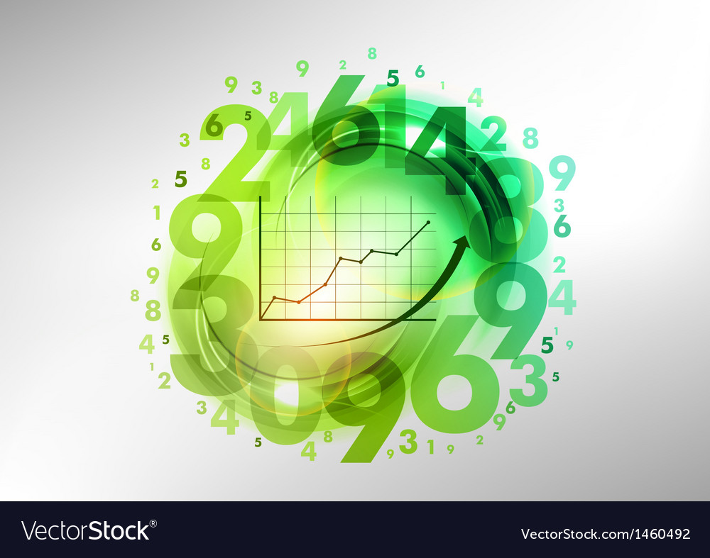 Numbers green with graph vector | Price: 1 Credit (USD $1)