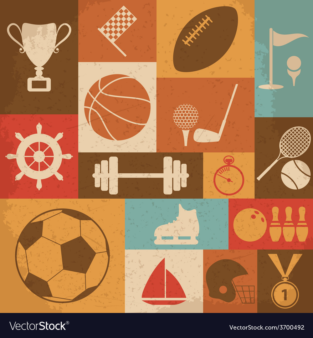 Retro sports icons vector | Price: 1 Credit (USD $1)
