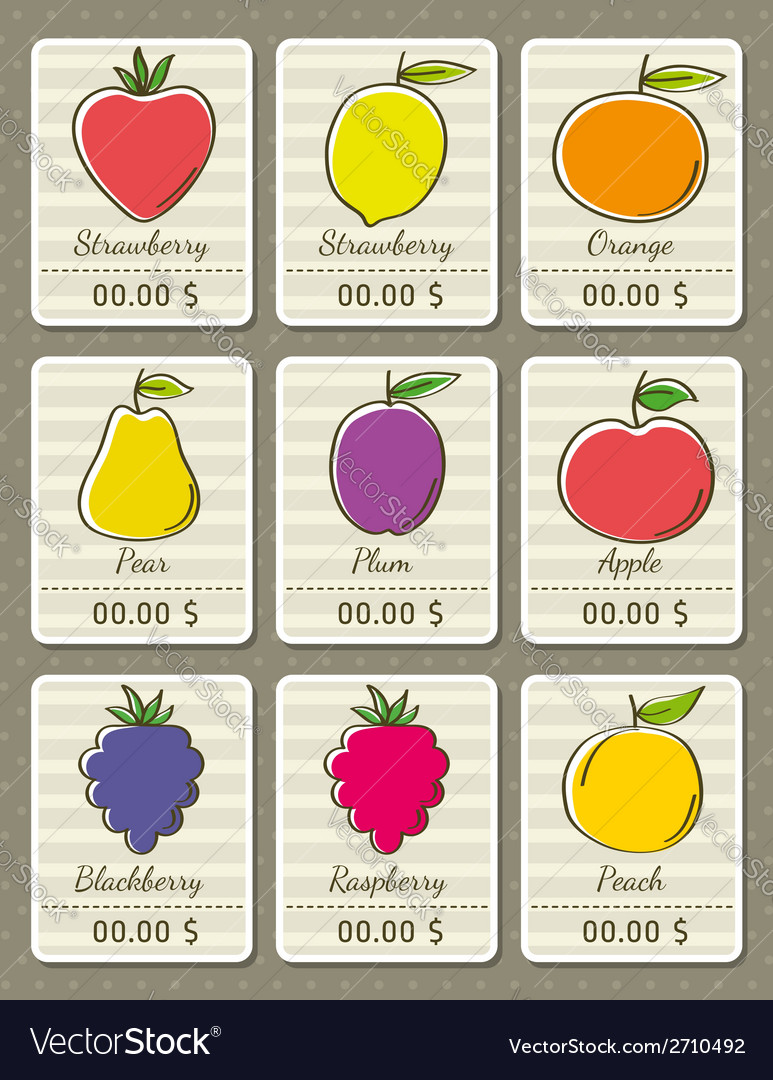 Set of labels with organic fruits vector | Price: 1 Credit (USD $1)