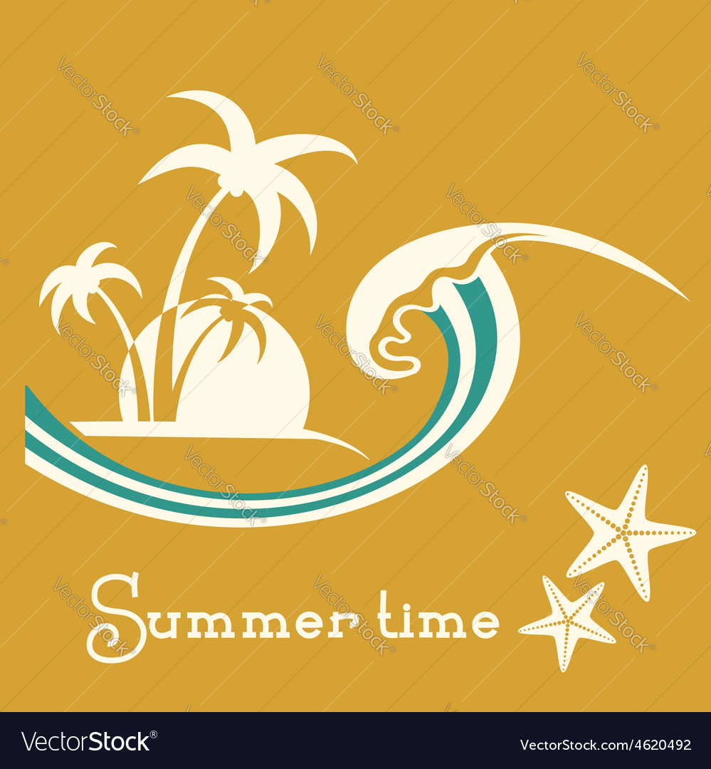 Summer time with sea wave and tropical palm trees vector | Price: 1 Credit (USD $1)