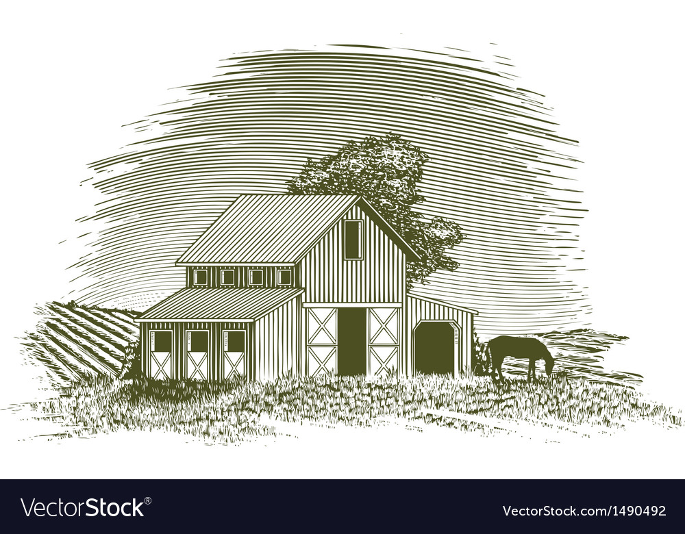 Woodcut horse barn vector | Price: 3 Credit (USD $3)