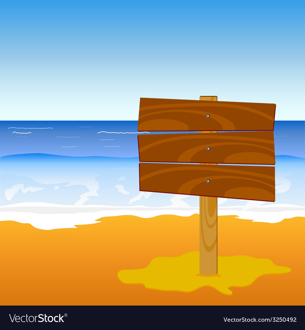 Wooden board on the beach vector | Price: 1 Credit (USD $1)