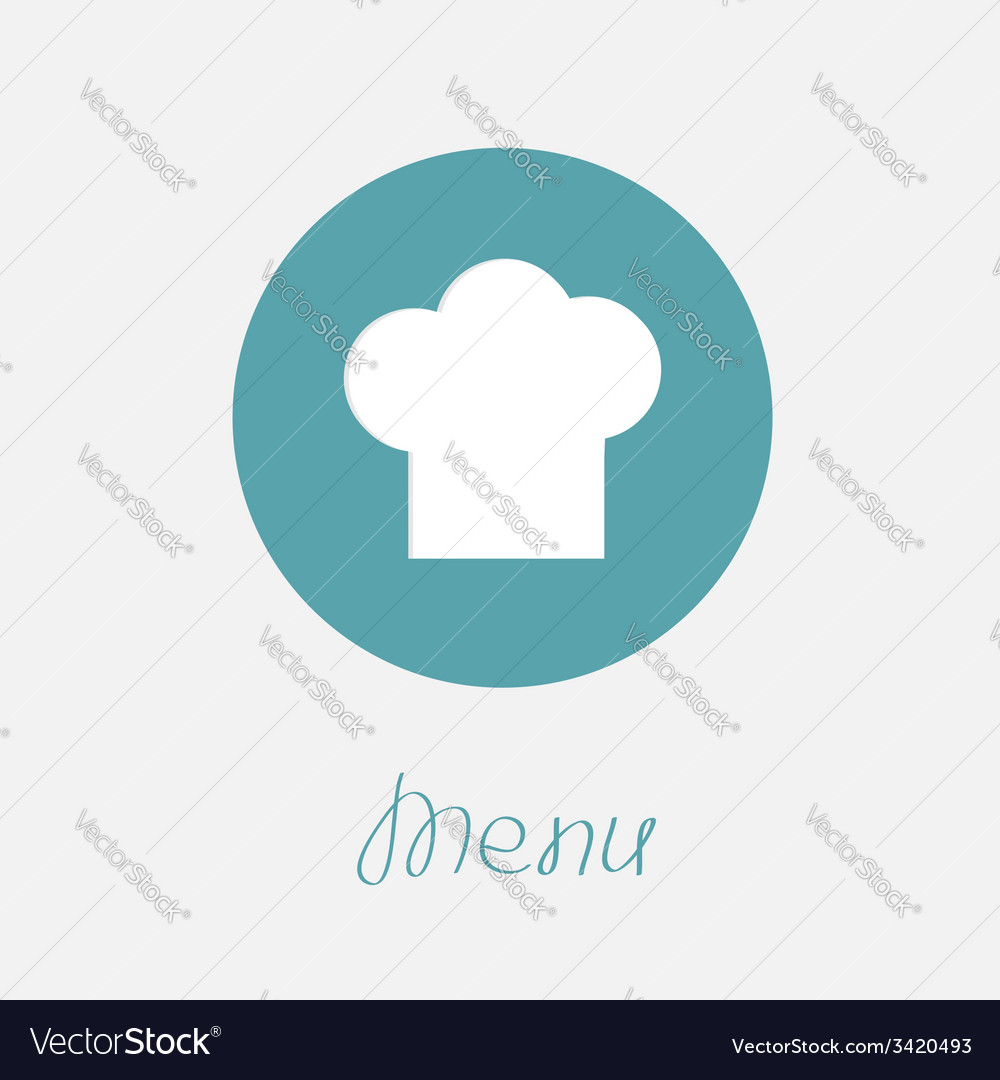 Big chef hat in the circle menu icon flat design vector | Price: 1 Credit (USD $1)