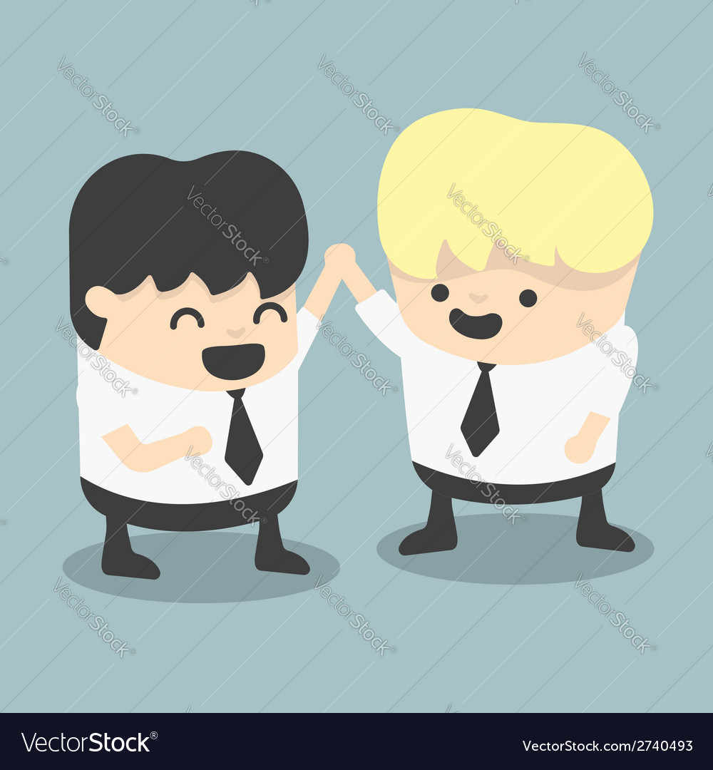 Businessman and boss high five congratulate vector | Price: 1 Credit (USD $1)