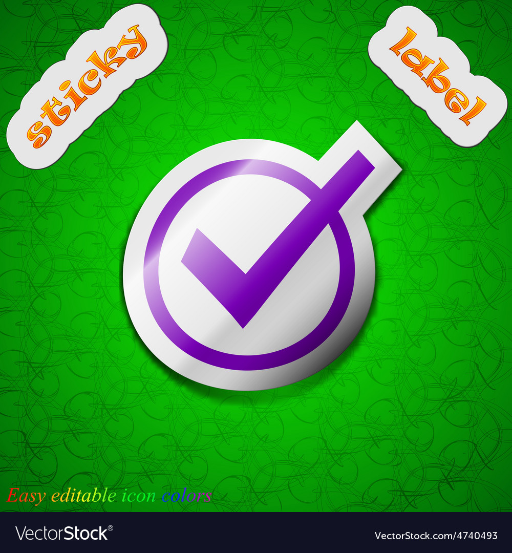 Check mark tik icon sign symbol chic colored vector | Price: 1 Credit (USD $1)