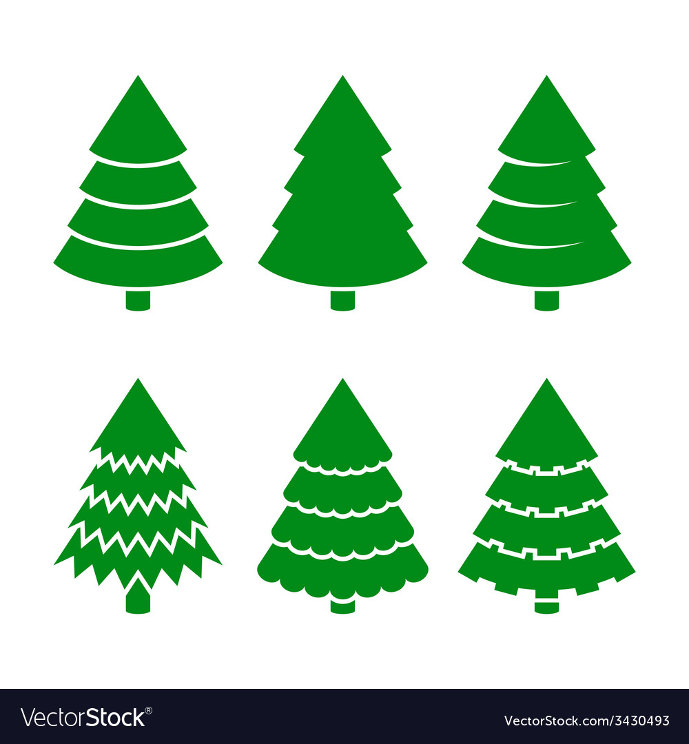 Christmas trees icons set vector | Price: 1 Credit (USD $1)