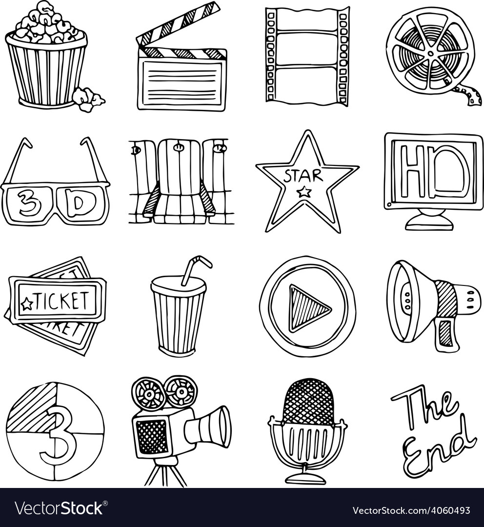 Cinema movie vintage icons set vector | Price: 1 Credit (USD $1)