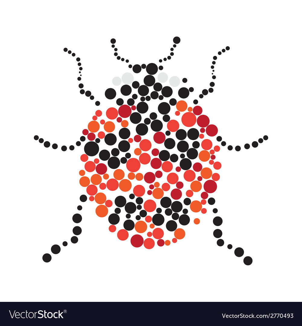 Dotted colorful ladybug silhouette vector | Price: 1 Credit (USD $1)