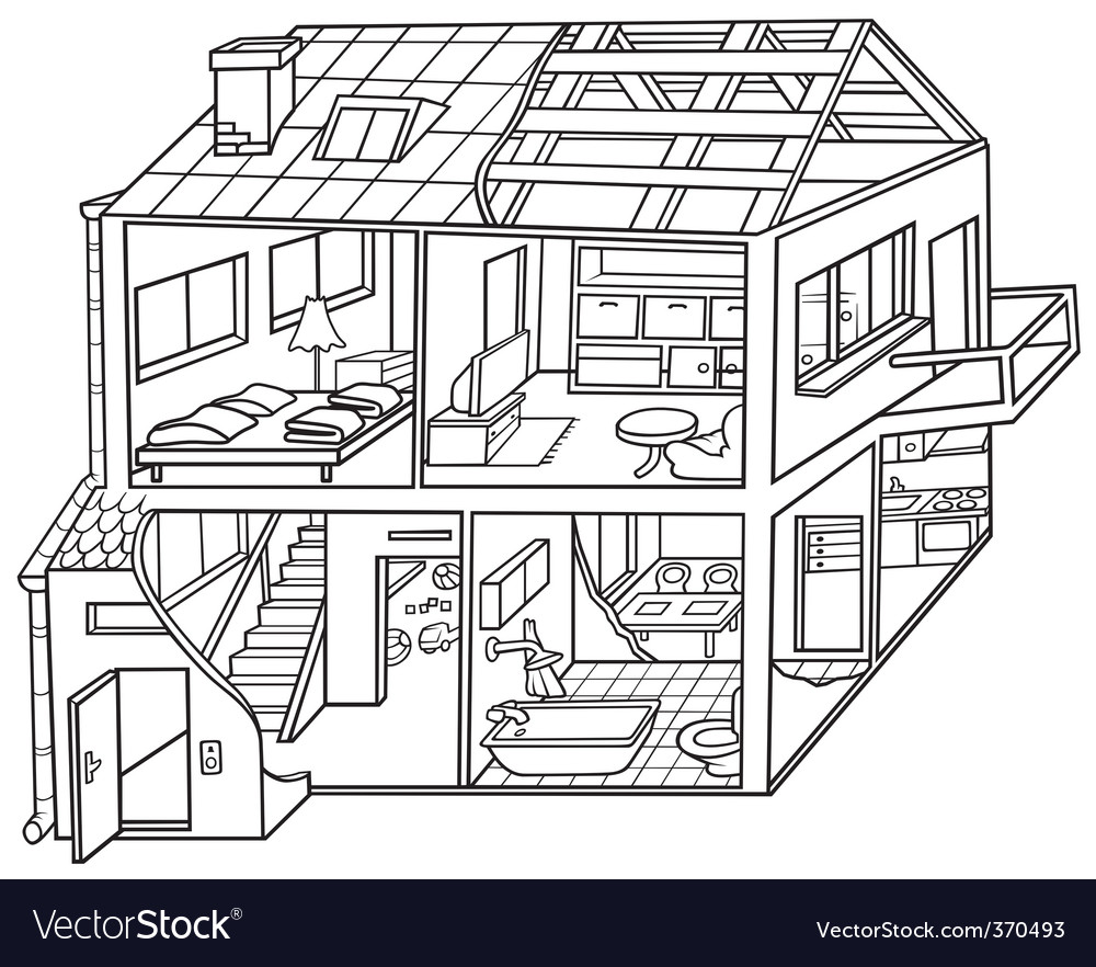Dwelling house vector | Price: 1 Credit (USD $1)