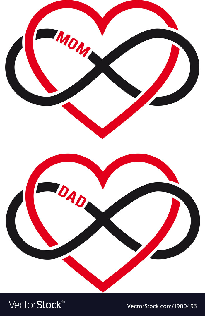 Hearts with infinity sign for mom dad set vector