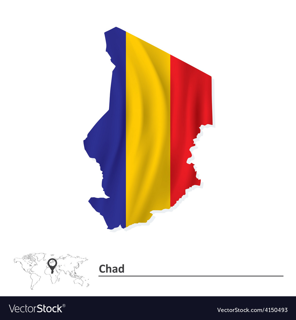 Map of chad with flag vector | Price: 1 Credit (USD $1)