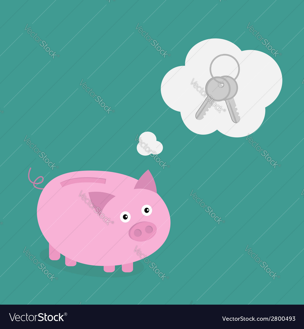 Piggy bank dream about key think bubble flat vector | Price: 1 Credit (USD $1)