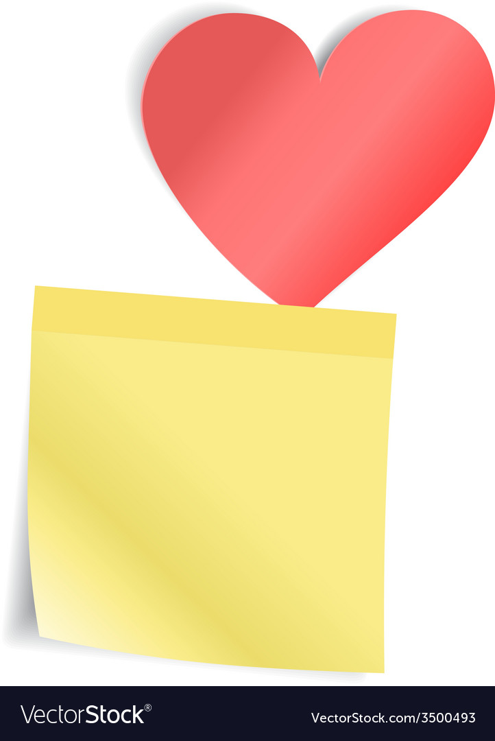 Red heart with paper sticker vector   Price: 1 Credit (USD $1)