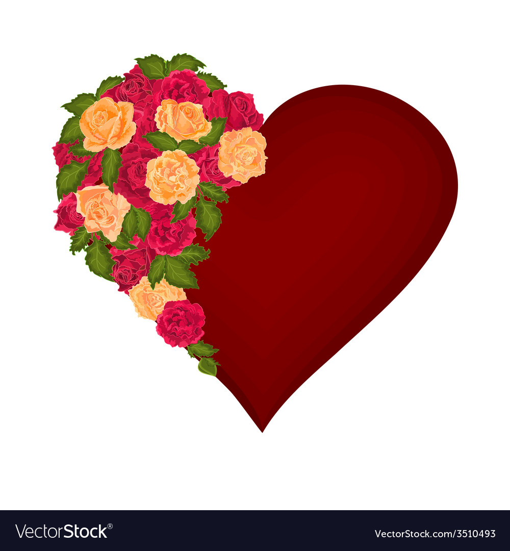 Red heart with red and tea roses valentines day vector | Price: 1 Credit (USD $1)