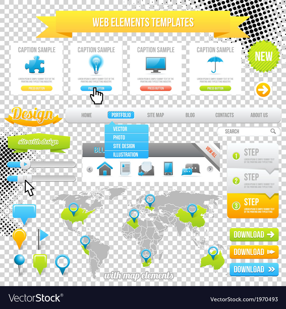 Web elements template icons sliders and banners vector | Price: 1 Credit (USD $1)