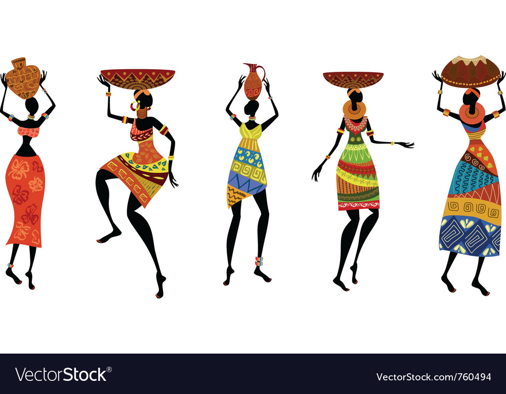 African women in traditional dress vector | Price: 1 Credit (USD $1)