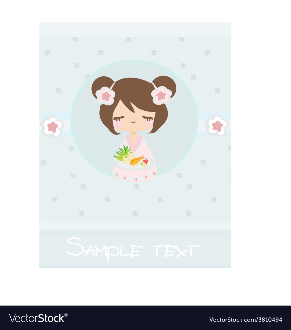 Beautiful asian little girl enjoy sushi - menu vector | Price: 1 Credit (USD $1)