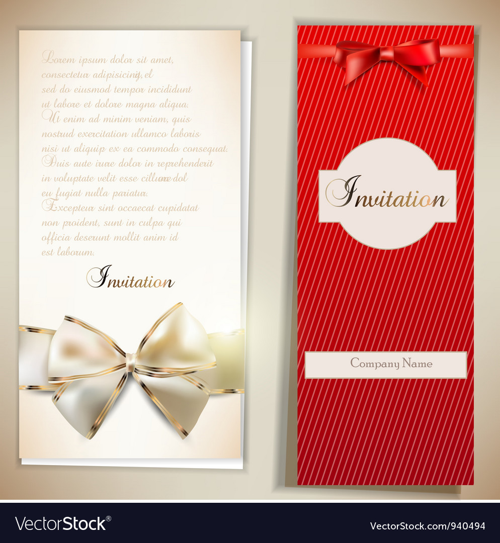 Card notes with ribbons red and white invitations vector | Price: 1 Credit (USD $1)