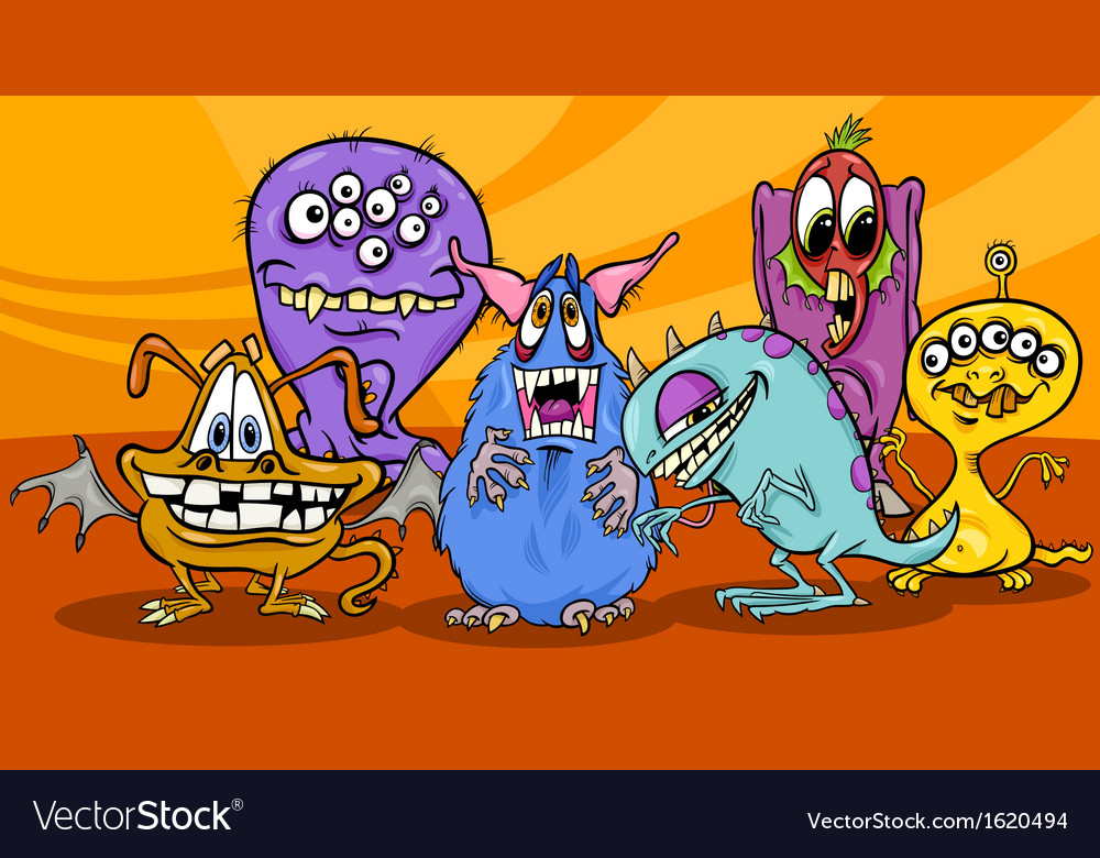 Cartoon monsters group vector | Price: 1 Credit (USD $1)