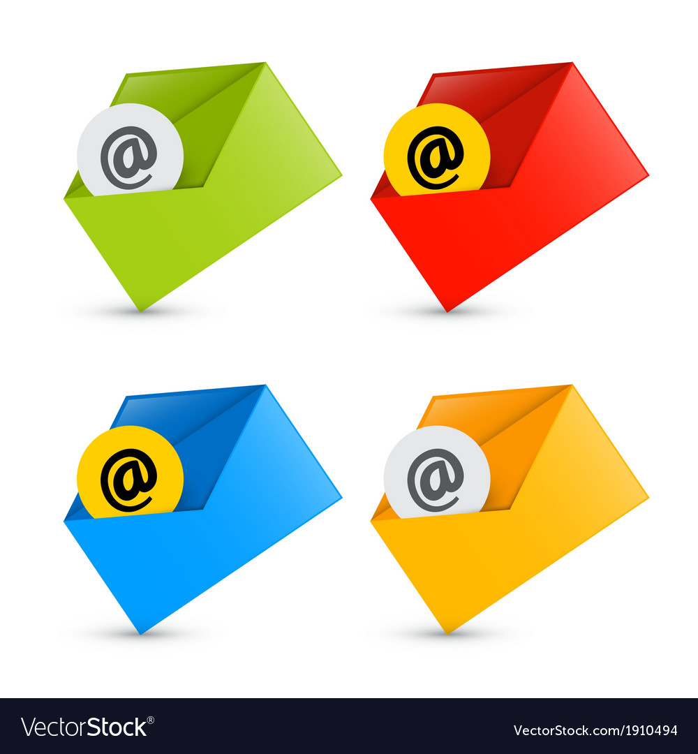 E-mail email icons envelope icons set isolated on vector | Price: 1 Credit (USD $1)