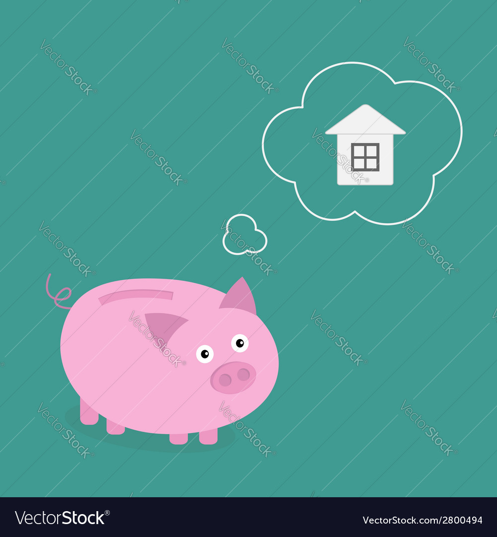 Piggy bank dream about house think bubble flat vector | Price: 1 Credit (USD $1)
