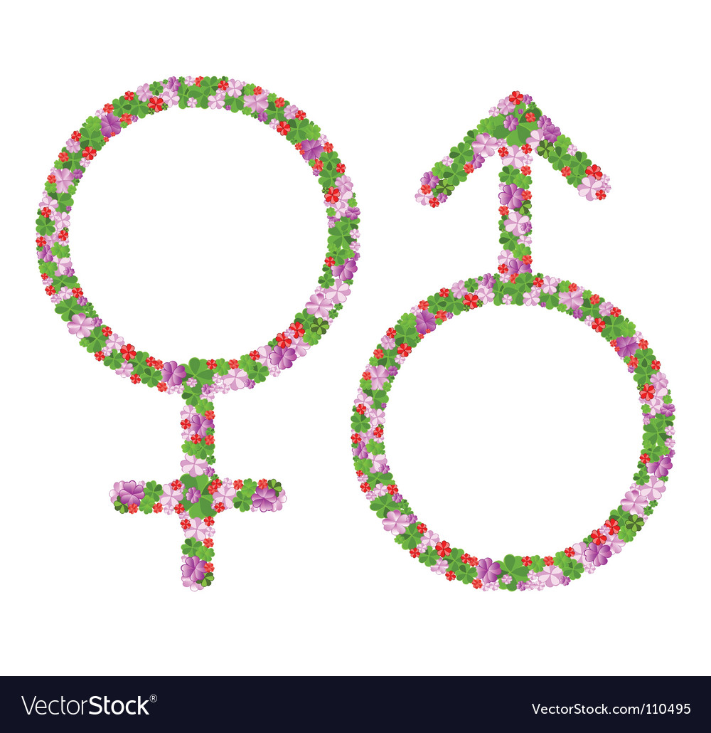 Floral venus and mars signs vector | Price: 1 Credit (USD $1)